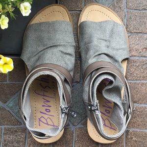 BLOWFISH Gray Canvas & Vegan Leather Sandals
